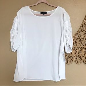 Eloquii Ruched Tie Sleeve Top, Sz 24, NWT